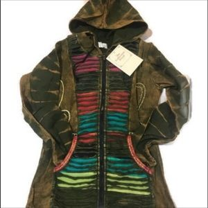 Hoodie Rainbow with Pockets zip front BOHO Elf
